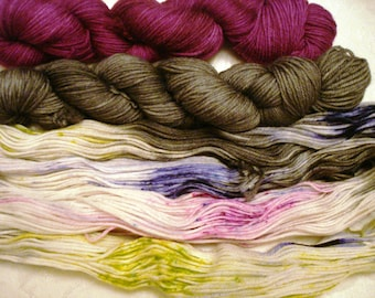 50G SPORT, 200 Yds/skein, 3 skein, Sprinkle Splatter and Tonal, Hand Dyed, Yarn Set - PLEASING