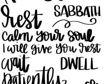 Be Still, Hand lettered words, Wordfetti, Bible Journaling