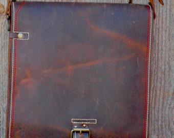 Vertical Laptop Bag, Laptop Vertical  Leather Chokolate Bag, Vertical Laptop Bag, Genuine Leather Messenger Bag, Handmade