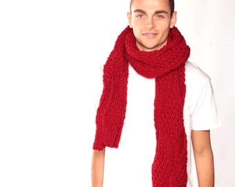Red scarf, Chunky knit scarf, Long wool scarf, winter scarf, hand knitted scarf, Knitted scarf, Large Scarf, Valentine's gift, winter style
