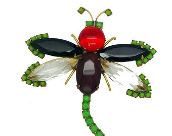ON SALE Czech Glass Husar D Dragonfly Pin Brooch