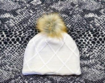 Cream Diamond Knit Fur Pom Beanie, Girl Beanie, Toddler Beanie, Pom Beanie, Cream Beanie, Baby Gift