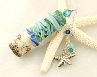 Handmade Lampwork Glass Ocean Beach Vessel, Aromatherapy, Amphora Jar with Cork Lid, Swarovski Crystals