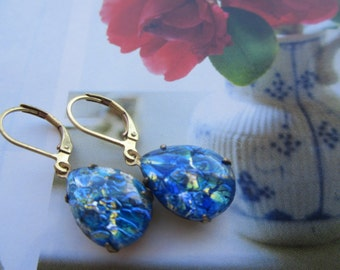 Vintage Sapphire Opal Glass Pear Gem Earrings Brass Ox