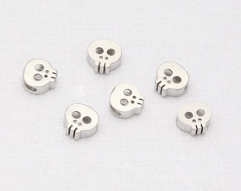 Skull Beads Matte Rhodium-Plated - 2 Pieces [TT0001-MR]