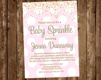 Pink and Gold Baby Sprinkle Invitation, Baby Girl Sprinkle, Baby Shower, Sprinkle, Girl, Invitation -  Digital or Printed