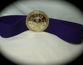 Vintage Leslie Fay Stretchy Purple with Large GOld tone Shield Buckle.