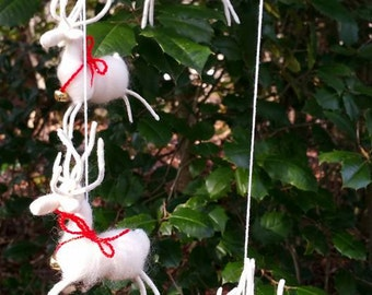 Christmas Decoration, Reindeer, Ready To Ship, Christmas Ornament, Needle Felted Reindeer Mobile, Home Decor, Handmade