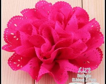 "4"" FUCHSIA eyelet flowers, 2 piece (FUSCHIA)"