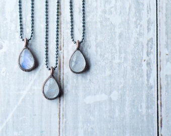 Rainbow moonstone necklace | Teardrop Moonstone Pendant | Moonstone Necklace | Electroformed mineral jewelry | Organic stone jewelry