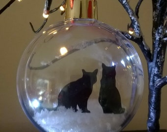 Two Cats Silhouette in the Snow  Pet Bauble