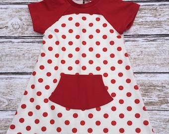 Girls Dress - Spring Dress - Girls Red Polka Dot Dress - Girls Birthday Dress - Girls Polka Dot Dress -  Birthday Gift