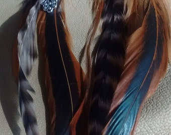 Long Rooster Feather Earrings with Hamsa Hamesh Hand Charm Greens, Black & White, Reds
