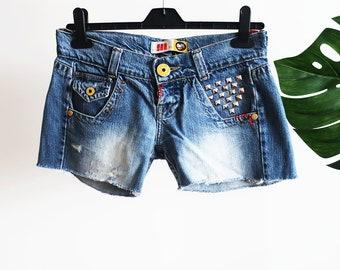 Vintage Denim Shorts, Ripped Shorts, Studded Shorts, Frayed Shorts. Portuguese Brand, Cotton Shorts, Summer Shorts, 90s, Vintage Clothing