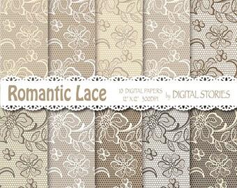 "Lace Digital Paper:""LACE ROMANTIC BEIGE"" Lace Beige Gray Vintage Wedding Digital Scrapbook Paper for invites, cards"
