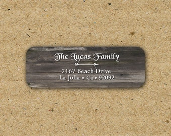 Rusitc Barn Wood Return Address Label, Made to Order, Customized