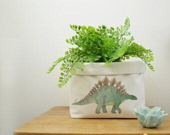 Stegosaurus Canvas Storage Box, Storage Solution, Storage Basket, Fabric Basket, Organiser, Storage Bin, Nursery Storage, DInosaur Gift
