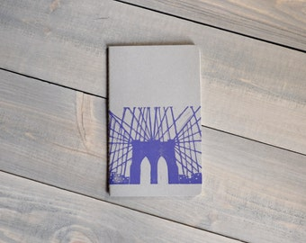 Gratitude journal, Moleskine Cahier, Brooklyn Bridge print, Yoga journal, Dream journal, Block print notebook, Yoga gift