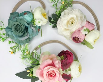 Baby girl headband for weddings, Photo Props Baby Headband, Flowers Headband, Nylon Headband, new born headband, baby headband and bows