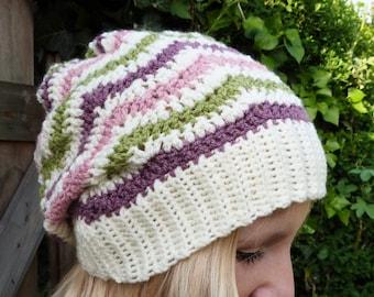 Hand Crochet Cream, Green, Pink, Purple Wavy, Zig Zag Stripe Slouch Hat / Beanie Autumn Winter Accessories