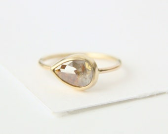 Rose Cut Diamond Engagement Ring, 14k gold, brown and gray pear shape conflict free diamond, eco friendly natural diamond, handmade recycled