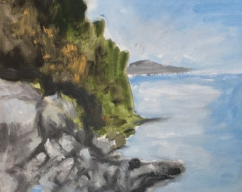 Oil painting of Rocky Shore