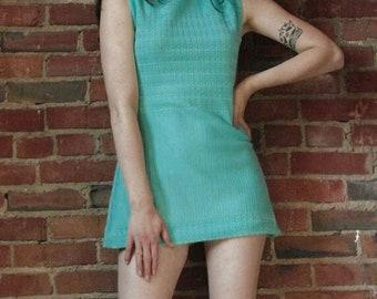 Vintage Mini Dress Mod 1960's Blue Teal Green Mini Skirt 60s Twiggy