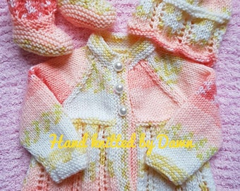 Hand Knitted Baby Cardigan, Hat & Booties, Baby knitted outfit, Baby knitted clothes