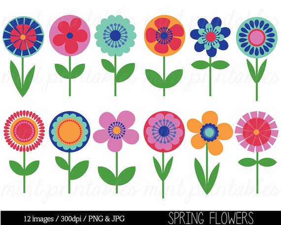 flower clipart clip art bright flowers retro vintage