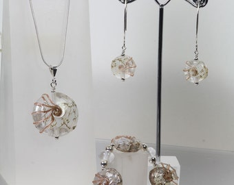 Sterling silver and lampwork clear and gold set from the Jurassic coast range by Helen Gorick