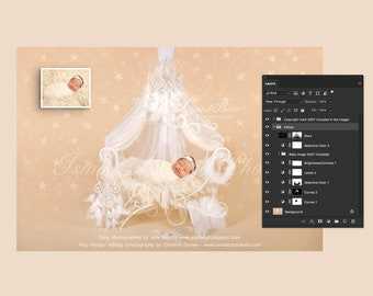 Digital backdrop - White iron bed chair with stars - PSD file with layers - Newborn felted wool butterfly 2  - Beautiful Digital background