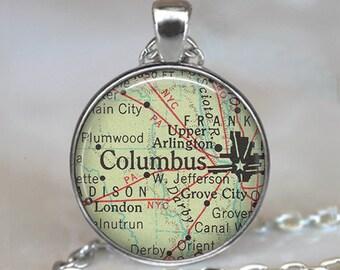 Columbus, Ohio pendant Columbus map necklace map jewelry Columbus map pendant necklace Columbus key chain key ring key fob keychain