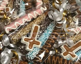5-pk of Mini Chocolate Dipped Pretzels wth Matching Chocolate Cross - Baptism, Communion, Christening, Confirmation