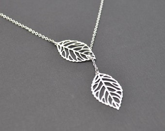 Modern leaf necklace, Lariat necklace, Silver necklace,Statement necklace,Bridal necklace,Mother's Day Gift,Christmas gift,tmj00034