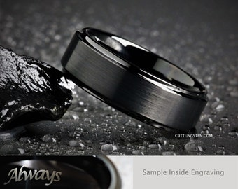 8MM Mens Satin Black Tungsten With Stepped Edges For Weddings, Engagement, Anniversary Ring, Custom Laser Engraved Inside
