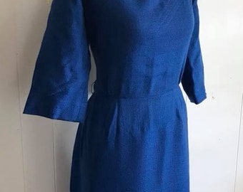 Vintage 1950's Blue Light Weight Wool Day Dress by L'Aiglon -- Size L