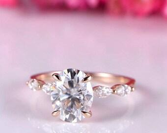 Moissanite ring oval moissanite engagement ring art deco moissanite wedding band 14k rose gold bridal ring anniversary ring custom jewelry