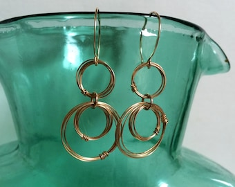 Gold Rings Earrings Open Circle Drop Earrings 14kt Gold Fill Hoop Dangles Wire Jewelry Geometric Earring Unique