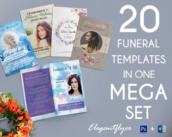 20 Funeral Program Templates for Word & Photoshop | Obituary Template | A4 and US Letter | Instant Download.