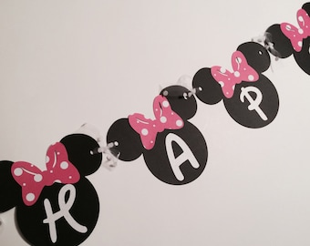 Minnie Mouse birthday banner, Minnie Mouse Party, Minnie Mouse Birthday, Minnie Mouse Banner, Pink & White Minnie Mouse,Minnie Mouse Garland