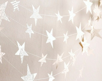paper stars garland, book paper garland, classroom decor, stars birthday party decor, eco friendly nursery decor, kids room decor