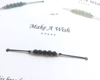 Silk, Sterling Silver and Genuine Gemstone Wish Bracelet