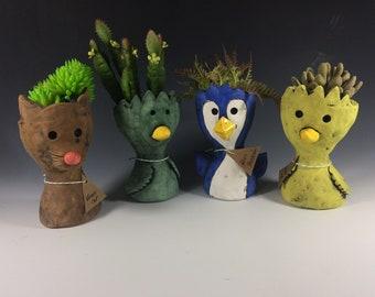 Pothead Peeps // Cat // Bird // Penguin // Small // Succulent Pots // Planters // Handmade // Animals// Cute  // Home Decor