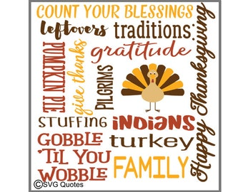 Thanksgiving Subway Art SVG DXF EPS Cutting File For Cricut Explore, Silhouette & More. Instant Download. Personal and Commercial Use. Vinyl
