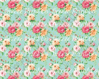 Rose floral craft patterned vinyl sheet - HTV or Adhesive Vinyl -  with mint background flower pattern vinyl  HTV2230