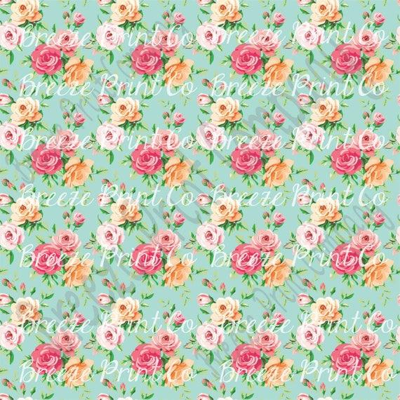 Rose Floral Craft Patterned Vinyl Sheet Htv Or Adhesive