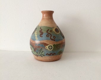 Vintage Pottery Vase, Hand-painted Vase. Made in Peru