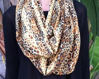 SALE! Leopard Animal Print Silk Peachskin Infinity Loop Scarf