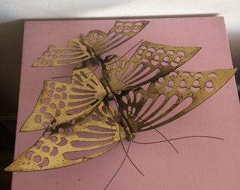 Set of 3 Vintage Brass Butterflies Wall Hanging