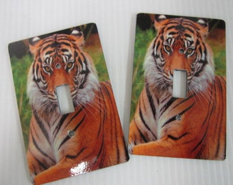 2 Light switch plate covers, Tiger Face design